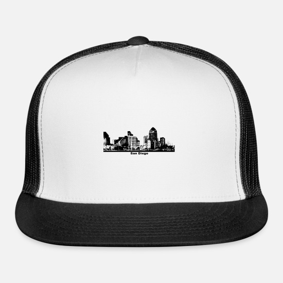 San Caps - San Diego California skyline - Trucker Cap white/black