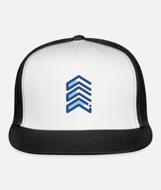 US Army Sergeant Caps & Hats - Army Sergeant Rank Symbol - Trucker Cap white/black