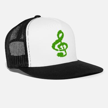 Note Clue music note clef cloverleaf - Trucker Cap