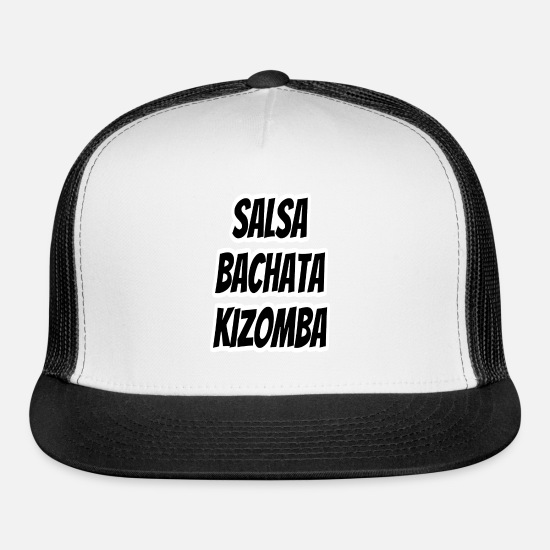 Kizomba Caps - Salsa Bachata Kizomba White Outline Border Design - Trucker Cap white/black