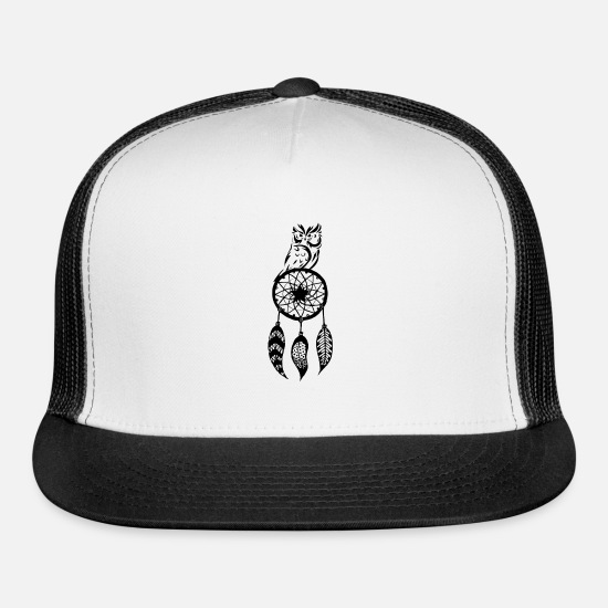 Catcher Caps - Owl Dream Catcher spiritually - Trucker Cap white/black