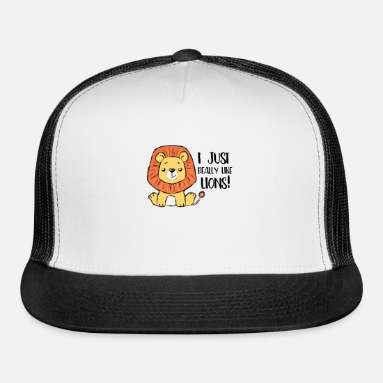 Africa Caps - I just really like lions big cat Kids sweet Lion - Trucker Cap white/black