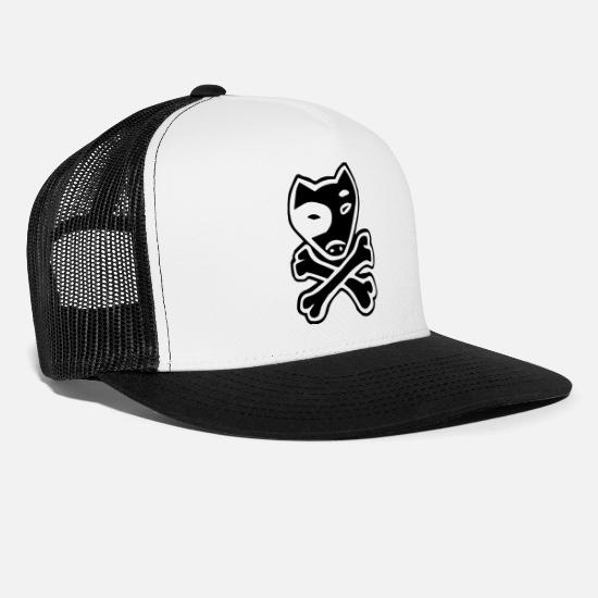 1ac46ac8e702fc Dog Paw Caps - Pitbull Dog Pirate Flag with crossed Bones - Trucker Cap  white/