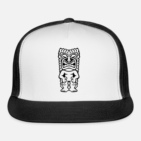 Tiki Caps - Hawaiian Tiki - Trucker Cap white/black