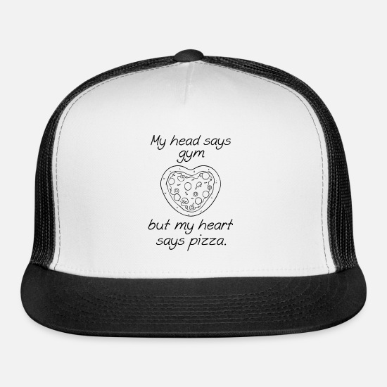 Funny Caps - My Head Says Gym But My Heart Says Pizza - Trucker Cap white/black