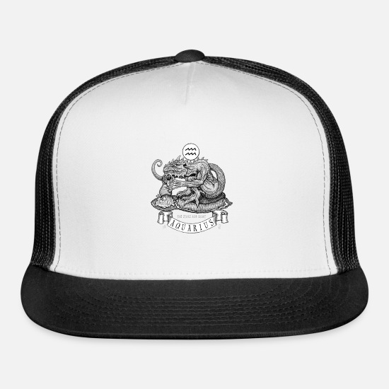 Zodiac Caps - zodiac Aquarius - Trucker Cap white/black