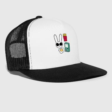 Fried Egg Bunny fries egg gaming collage - Trucker Cap