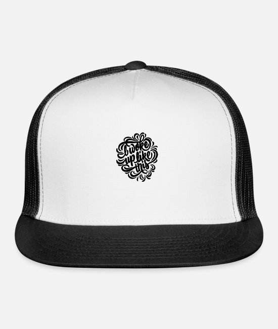 Collection Caps - i woke up like this 01 - Trucker Cap white/black