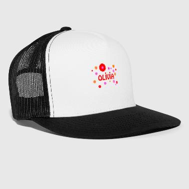 Olivia name flower power hippie - Trucker Cap