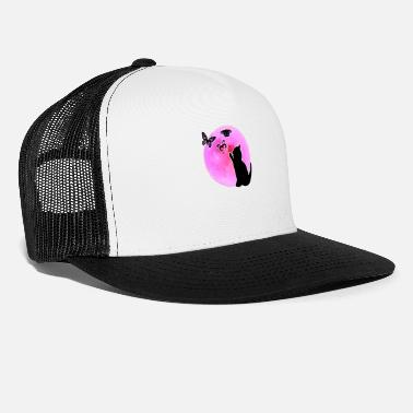 Full Moon Cat Pink Pinl Full Moon Butterflies Gift - Trucker Cap