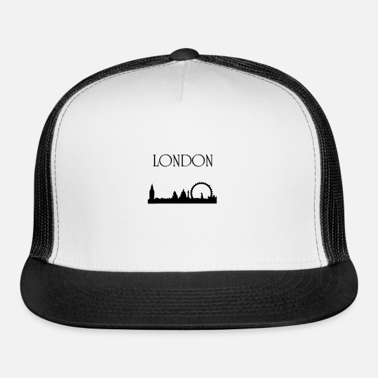 Big Ben Caps - London with a landscape - Trucker Cap white/black
