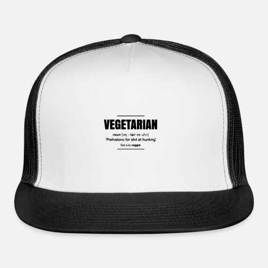 Movie Caps - Vegetarian Definition - Trucker Cap white/black