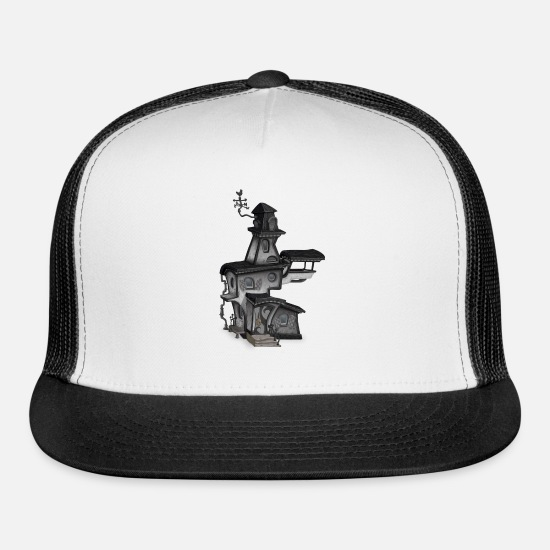 Haunted Caps - haunted house halloween - Trucker Cap white/black