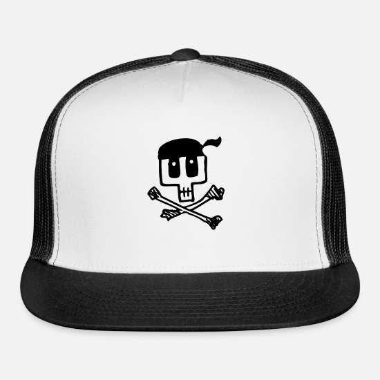 Skull Caps - Skull and Crossbones - Trucker Cap white/black