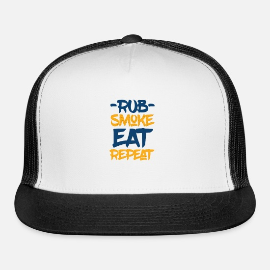 Steak Caps - Pitmaster BBQ Barbecue food grill Put my meat in - Trucker Cap white/black
