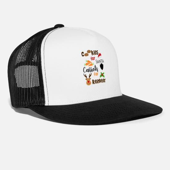 Christmassy Caps - Cookies For Santa Carrots For Reindeer Holiday Art - Trucker Cap white/black
