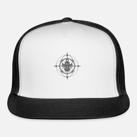 Magic Caps - Old seal, talisman - protection from evil spirits - Trucker Cap white/black