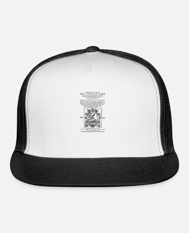 Don Quixote Caps & Hats - Don Quixote design: Miguel de Cervantes - Fine - Trucker Cap white/black