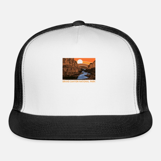 Railway Caps - Grand Canyon National Park Retro Colorado River 80 - Trucker Cap white/black