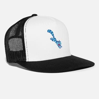 Cheerful Madness Blue Cartoon Cat by Cheerful Madness!! - Trucker Cap