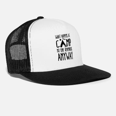 Canoe What Happens at Campsite Funny Camping Saying - Trucker Cap