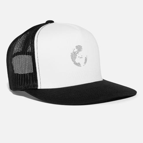 093b619f8887e Snow Wordcloud of a Globe with Europe form (black) Trucker Cap ...