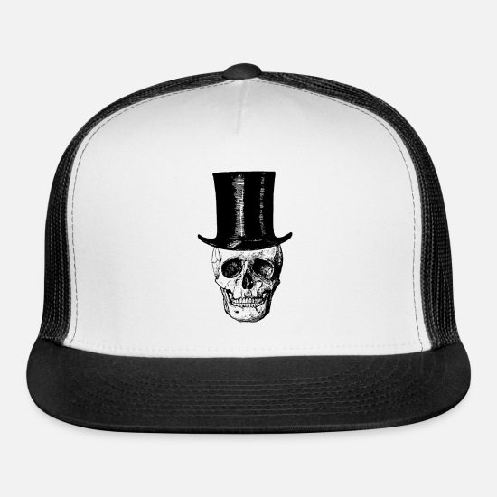 Haters Gonna Hate Caps - Skull With Top Hat - Trucker Cap white/black