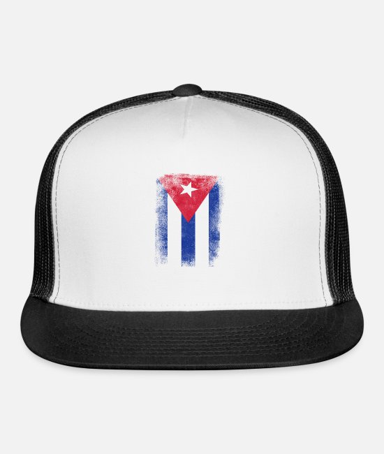 Cuba Caps & Hats - Cuba Flag Proud Cuban Vintage Distressed - Trucker Cap white/black