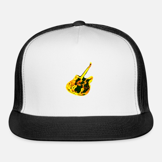 Guitar Caps - Yellow Guitar - Trucker Cap white/black