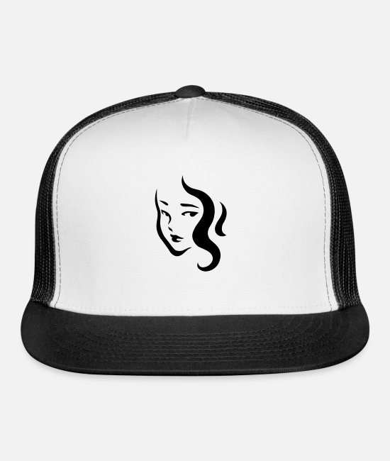 Hair Caps & Hats - Simple Beautiful Girl - Trucker Cap white/black