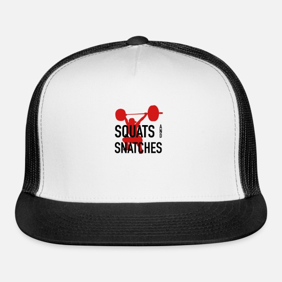 Wife Caps - Squats And Snatches Barbell - Trucker Cap white/black