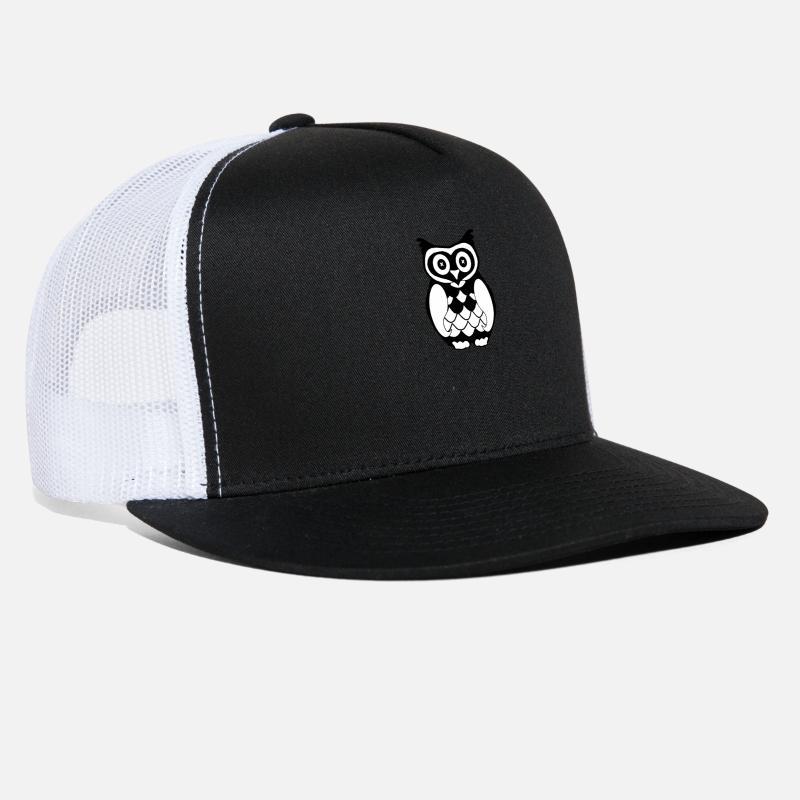 7687f3f4 Owl minimal art black and white Trucker Cap   Spreadshirt