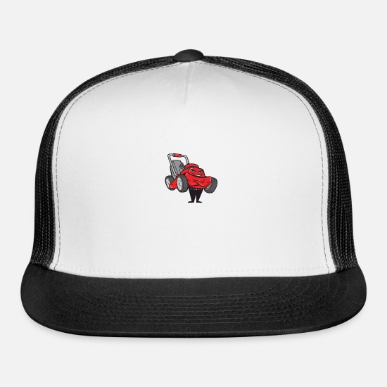 Animal Caps - Lawn Mower Man Standing Arms Folded Cartoon - Trucker Cap white/black