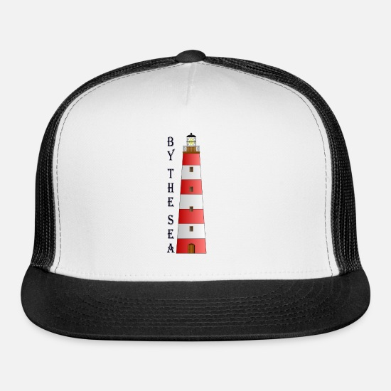 Skipper Caps - Lighthouse`BY THE SEA`Present(gift) Maritime Yacht - Trucker Cap white/black