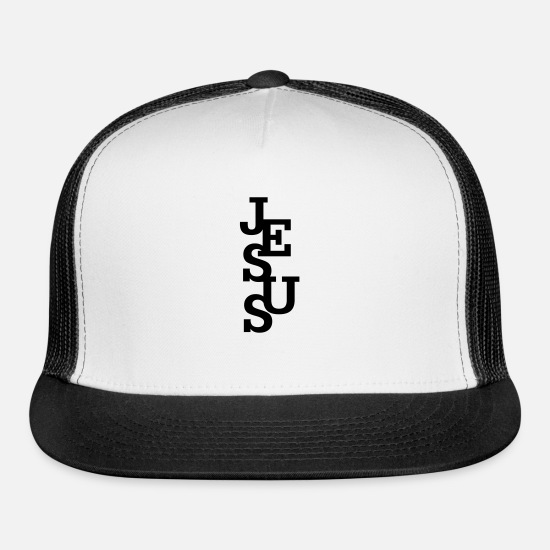 Jesus Caps - Jesus - Trucker Cap white/black