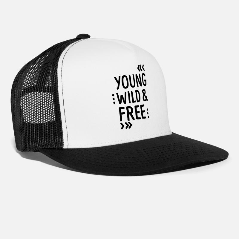 Birthday Caps - YOUNG WILD AND FREE - Trucker Cap white/black