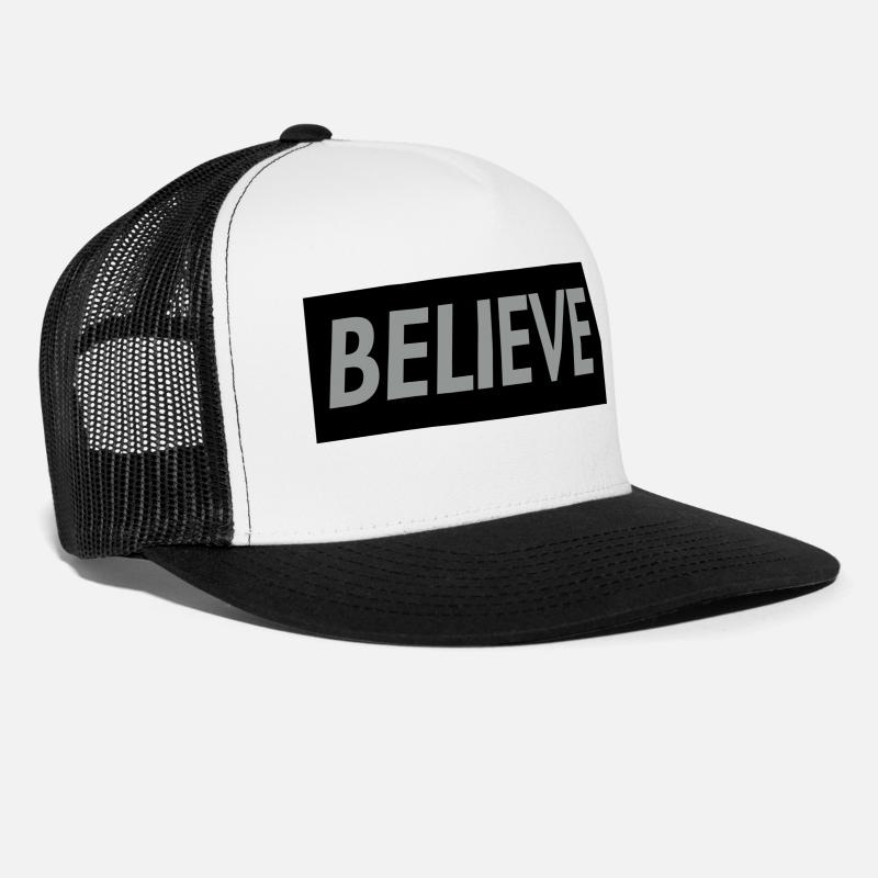 Funny Caps - Believe in Christ Christian T shirt - Trucker Cap white/black