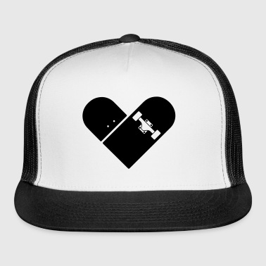 Minimal Skateboard - Heart Logo Design / Icon - Trucker Cap