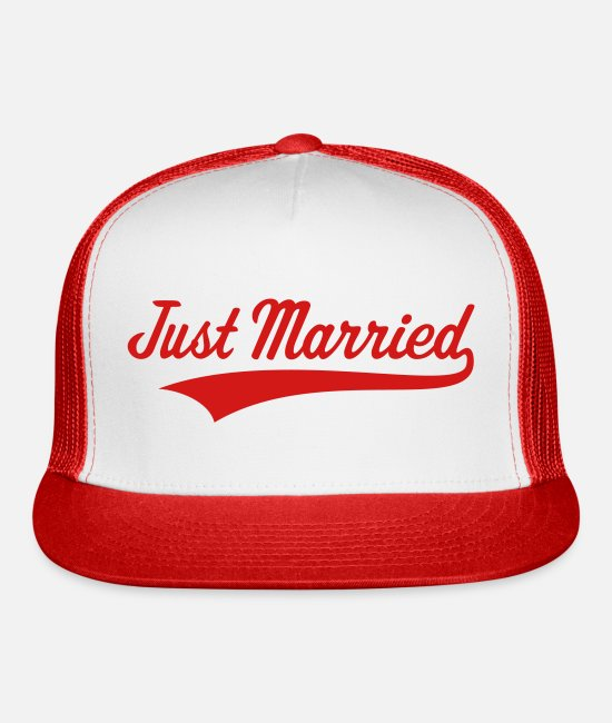 Bachelorette Party Caps & Hats - Just Married (Marriage / Wedding) - Trucker Cap white/red
