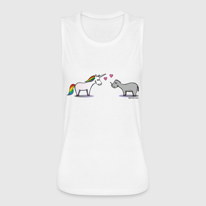 Unicorn and rhino in love - Women's Flowy Muscle Tank by Bella