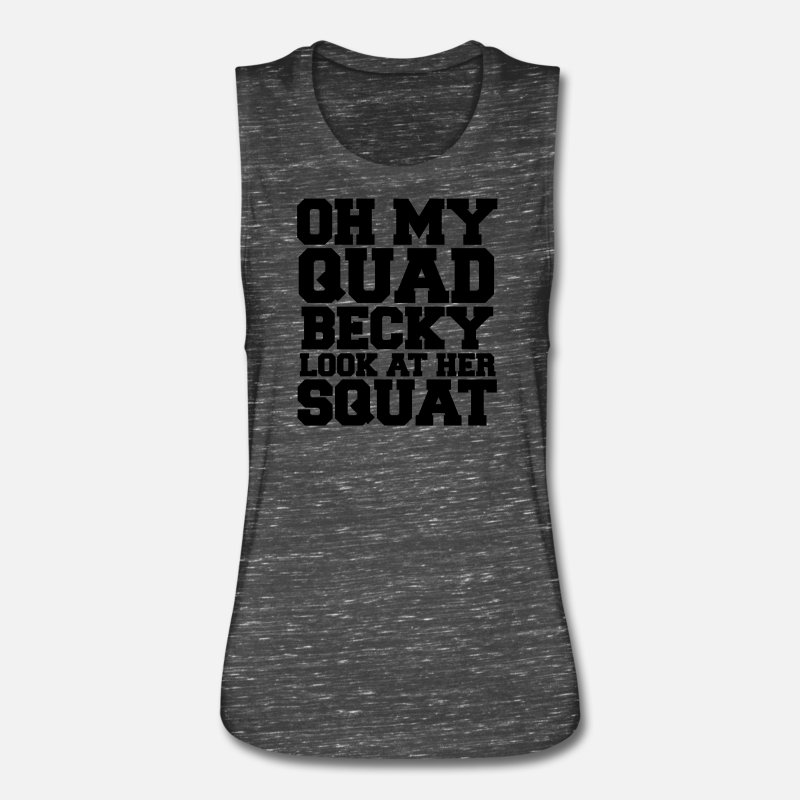 Deadlift Tank Tops - Oh My Quad Becky Look At Her Squat - Women's Flowy Muscle Tank Top black marble