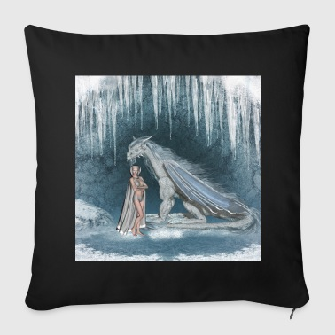 Wonderful fairy with snow dragon - Throw Pillow Cover