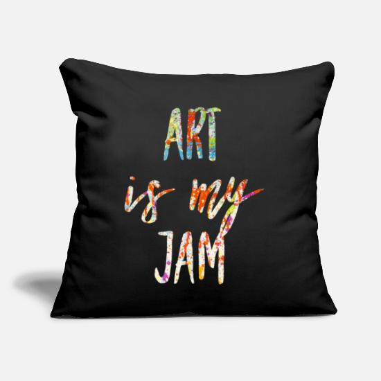 "Goodies Pillow Cases - Art Is My Jam Art Painting Colorful Typography - Throw Pillow Cover 18"" x 18"" black"
