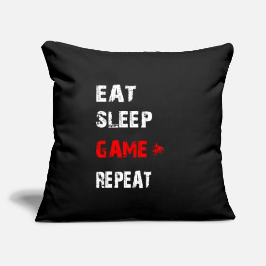"Game Pillow Cases - Eat Sleep Game Repeat - Throw Pillow Cover 18"" x 18"" black"
