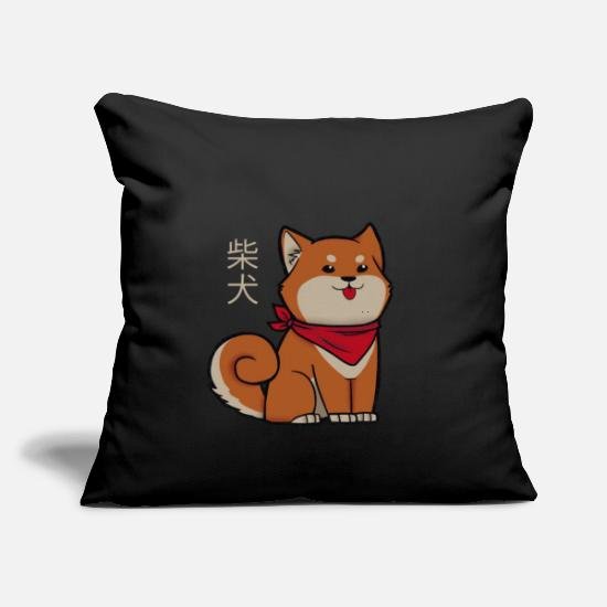 "Poodles Pillow Cases - Shiba Inu with scarf - Throw Pillow Cover 18"" x 18"" black"