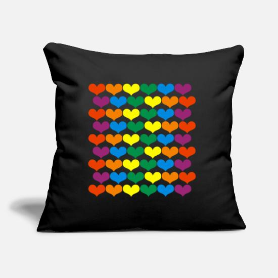Colorful Hearts Rainbow Hearts Throw Pillow Cover 18 X 18 Spreadshirt