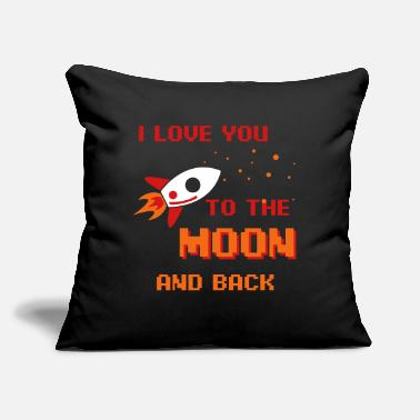 "Loves I Love You To The Moon And Back - Throw Pillow Cover 18"" x 18"""