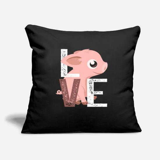 "Pig Pillow Cases - Love Pigs - Throw Pillow Cover 18"" x 18"" black"