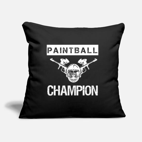 "Gear Pillow Cases - Paintball Champion - Best hobby ever - Play hard - Throw Pillow Cover 18"" x 18"" black"
