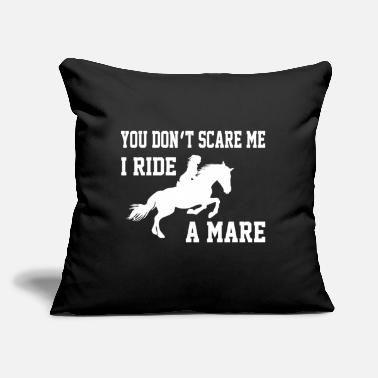 "Saddle I ride a mare gift horse sport hobby dressage - Throw Pillow Cover 18"" x 18"""